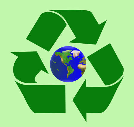 Recycle sign with planet Earth inside