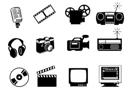 celluloid: audio, video and photo icons isolated on white background. Contains clipping paths Stock Photo