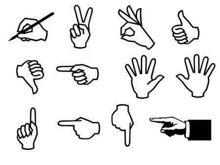 Different hands icons illustration. Contains clipping paths. Stock Illustration - 619550