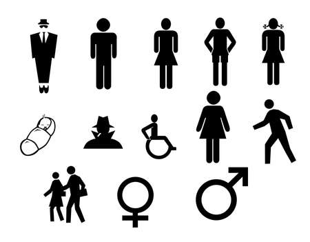 Different people silhouettes. Contains clipping paths for easy isolation