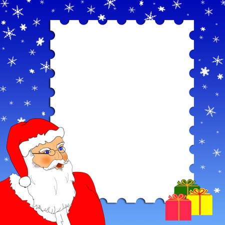 Christmas card design with Santa, gifts and snowflakes. Merry Christmas! photo