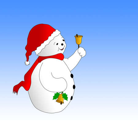 Snowman with bells illustration. Contains clipping path to allow isolation of the snowman. Merry Christmas concept. illustration