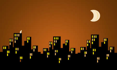 late: City nightscape illustration with buildings silouette and moon