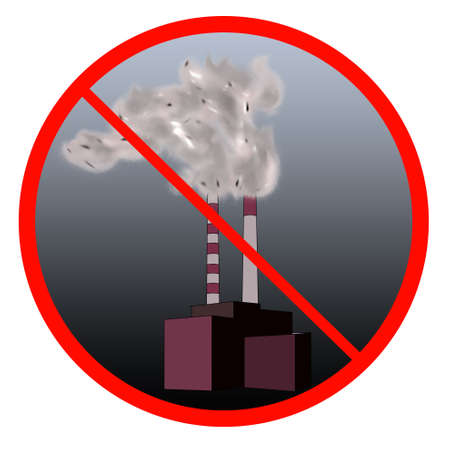 smog: Stop the pollution sign with Industrial site and smog inside.