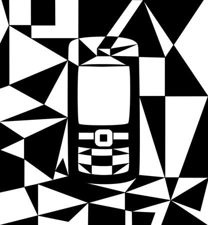 Abstract phone illustration, cubist style, black and white Standard-Bild
