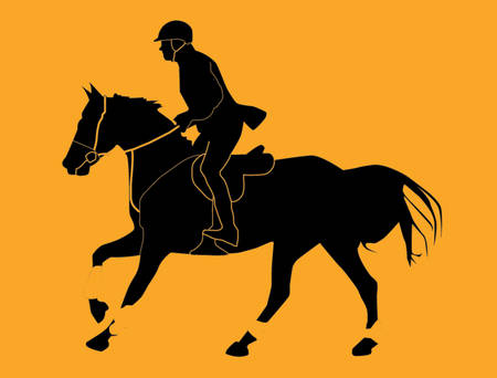 dressage: Homme de jockey montant une illustration de vecteur de cheval Illustration
