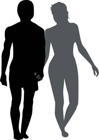 walking path: Silhouette of a couple walking isolated on white background. Contains clipping path Illustration