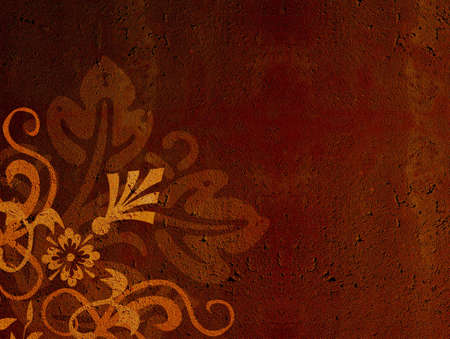 Grunge, brown floral background with texture illustration Standard-Bild