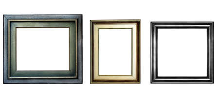 Three wooden frames with copyspace isolated on white background Standard-Bild