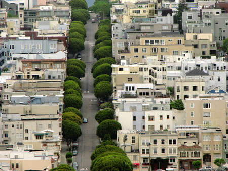 Famous Lombard Street in San Francisco, buildings detail