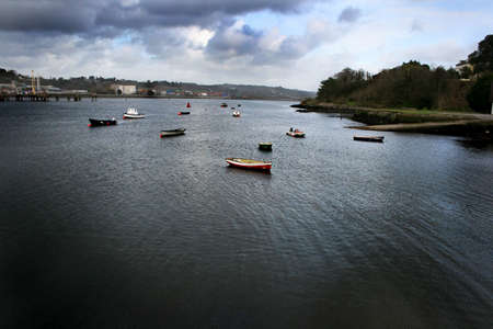 Small boats on river Lee, Cork, Ireland