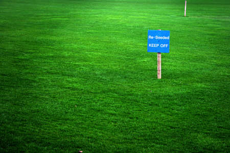 Re-seeded sign in a green grass lawn photo