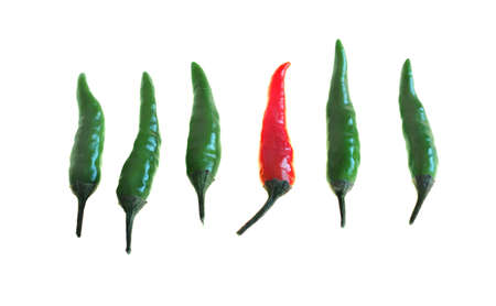 capsaicin: Red and green hot chili pepers (Capsicum) isolated on white Stock Photo