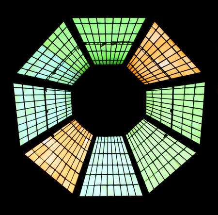 regular: stained glass window with regular geometrical shape