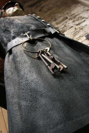 jailer: Wax statue of guardian with keys at Cork city Goal, Ireland