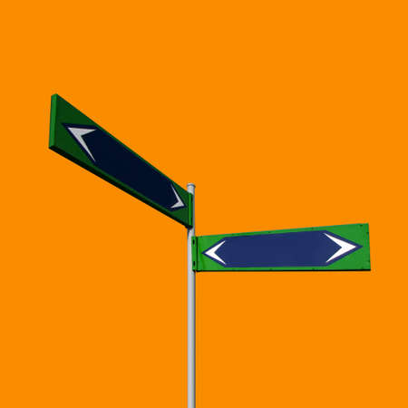 Blue direction signs isolated on orange background with working path photo