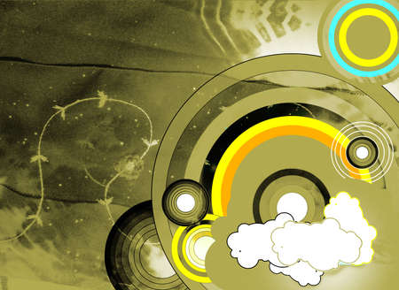 Grunge abstract background with circles and dark rainbow