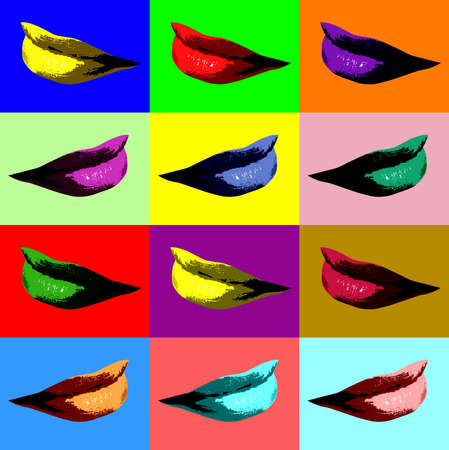 Sexy lips pop art with different vibrant colors Stock Photo - 7927658
