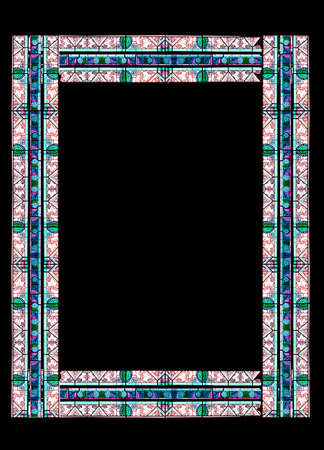 colored window: Stained glass frame with floral colored motifs on borders isolated on black (with clipping path) Stock Photo