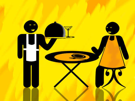 out of order: Waiter and woman client waiting at a table illustration