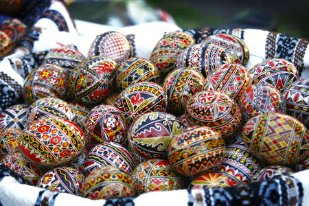 romanian: Traditional Romanian Easter eggs, hand-painted with geometrical motifs Stock Photo
