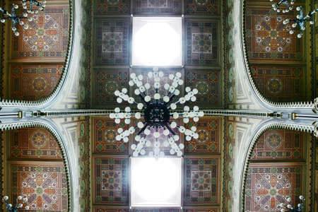 jewish quarter: Details of decorations on ceiling inside Dohany Synagogue, Budapest, Hungary. This is the biggest synagogue in Europe