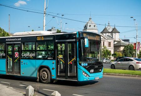 Bucharest/Romania - 05.30.2020: Bus No.137 belonging to Bucharest Transit Corporation( Societatea de Transport BucureÈ™ti -STB) in traffic.