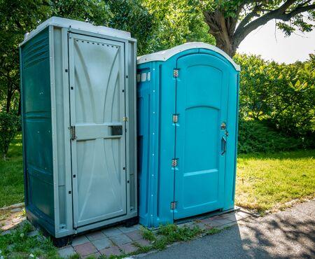 Public portable bio-toilets in Children's World Park in Bucharest, Romania.