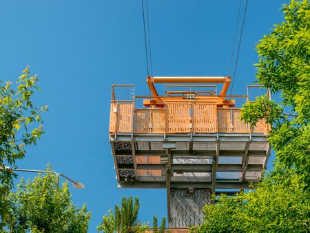 Starting point of the zipline from Children's World Park in Bucharest, Romania. Stock Photo
