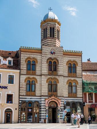 Brasov/Romania - 06.28.2020: Orthodox church of Assumption (Sfânta Adormire a Maicii Domnului) located in the Council Square (Piata Sfatului), Brasov.