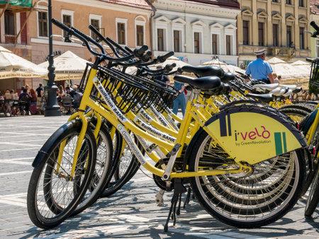 Brasov/Romania - 06.28.2020: I'Velo Relax bicycle for rent in the main square of Brasov(Piata Sfatului). Editorial