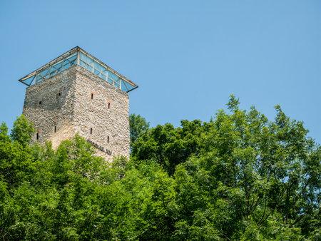 Brasov/Romania - 06.28.2020: The black tower, a medieval tower defense guarding over Brasov city.