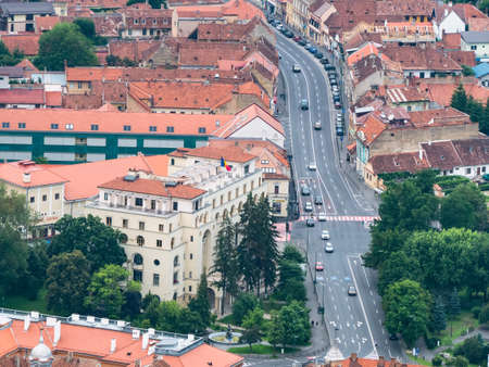Brasov/Romania - 06.28.2020: Aerial view with one of the main streets in Brasov (strada Lunga). Editorial