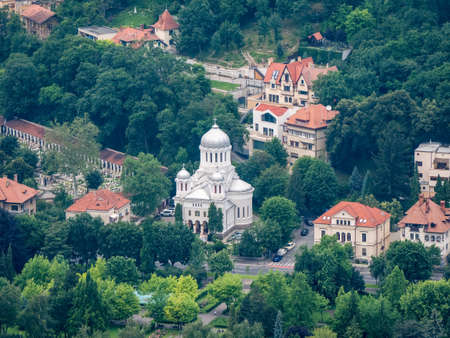 Brasov/Romania - 06.28.2020: Aerial view with the Annunciation orthodox church( Biserica Bunavestire) in Brasov.