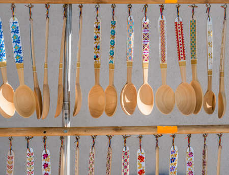 Hand made wooden traditional romanian tablespoons on dispaly