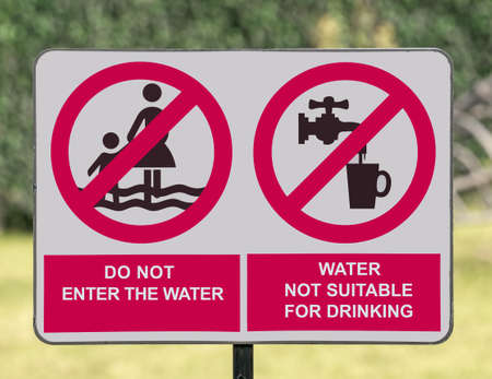 Water not suitable for drinking sign board,