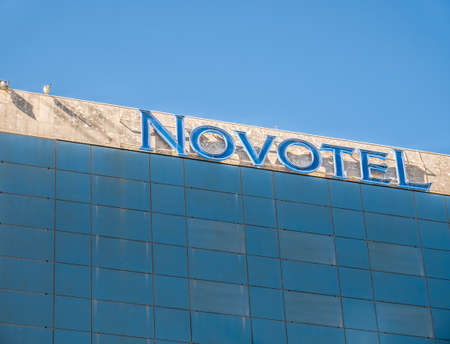 Bucharest/Romania - 05.16.2020: Novotel building in the center of Bucharest. Luxury hotel situated on Calea Victoriei (Victory boulevard) Sajtókép