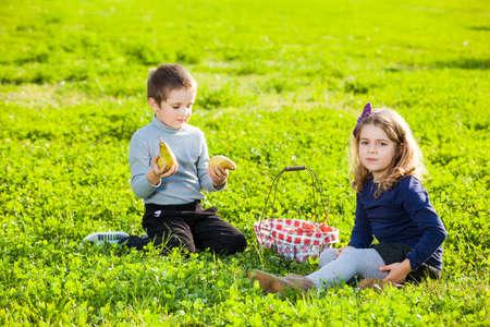 eating fruits: ni�os felices comiendo frutas de la cesta de picnic, sentado en la hierba verde
