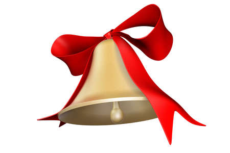 Photorealistic 3D rendered bell and bow for holiday decorations photo