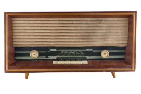 fm: Old radio tuner isolated on white background Stock Photo