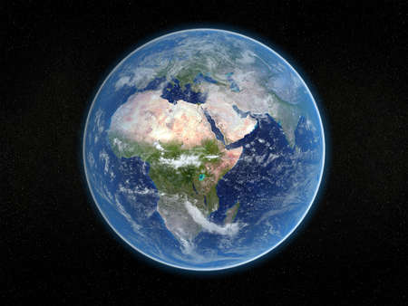 viewed: Photorealistic 3D rendering of planet earth viewed from space (Africa and Europe). Stock Photo