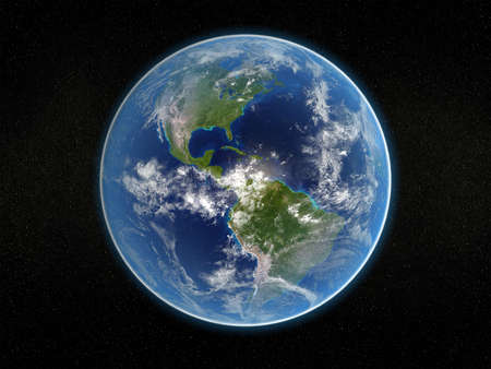 viewed: Photorealistic 3D rendering of planet earth viewed from space (America).
