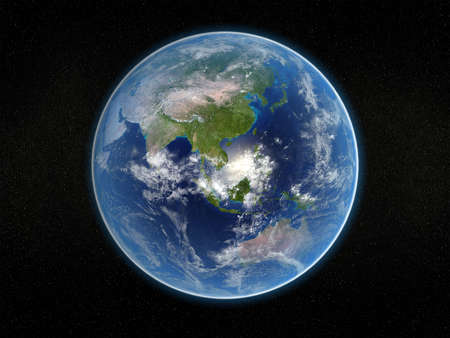 Photorealistic 3D rendering of planet earth viewed from space (Asia and Australia). photo