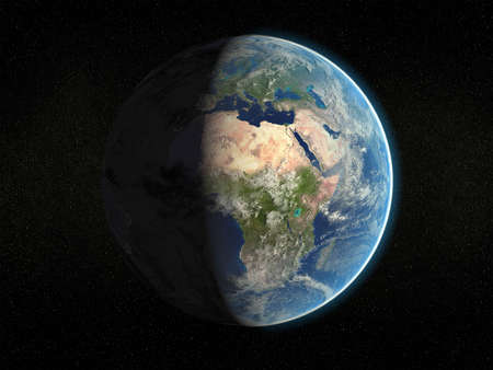 Photorealistic 3D rendering of planet earth viewed from space (Africa and Europe - partial light). photo