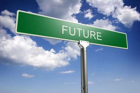 Photorealistic 3D sky-high future street sign Stock Photo - 426862