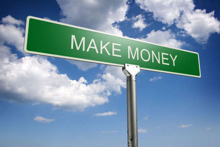 Photorealistic 3D sky-high make money street sign photo