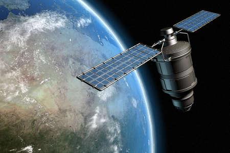 Satelliet een baan om de aarde, foto-realistische high-res 3D rendering