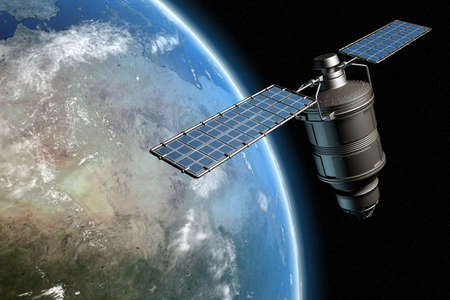 electronic survey: Satellite orbiting earth, photo-realistic high-res 3D rendering