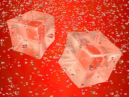A couple of ice cubes swimming in red drink. Photorealistic 3D rendering.  photo