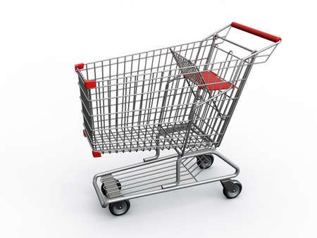 trolly: Photorealistic 3D shopping cart isolated on white background. Stock Photo